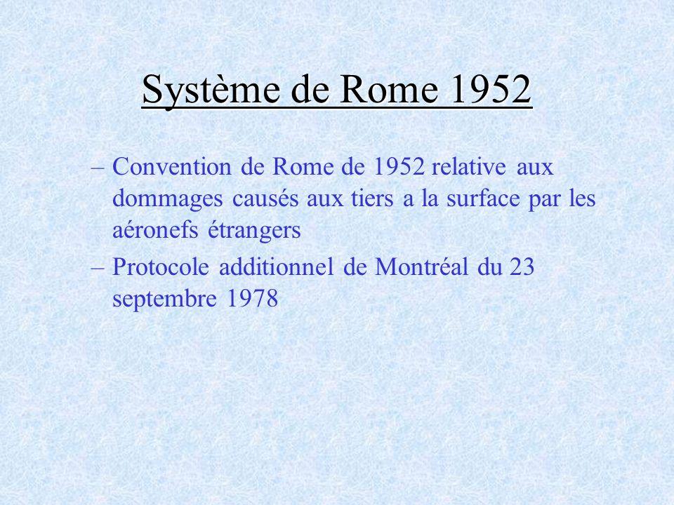 Système de Rome 1952 –Convention de Rome de 1952 relative aux dommages causés aux tiers a la surface par les aéronefs étrangers –Protocole additionnel