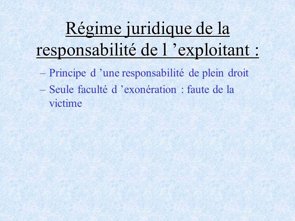 –Principe d une responsabilité de plein droit –Seule faculté d exonération : faute de la victime Régime juridique de la responsabilité de l exploitant