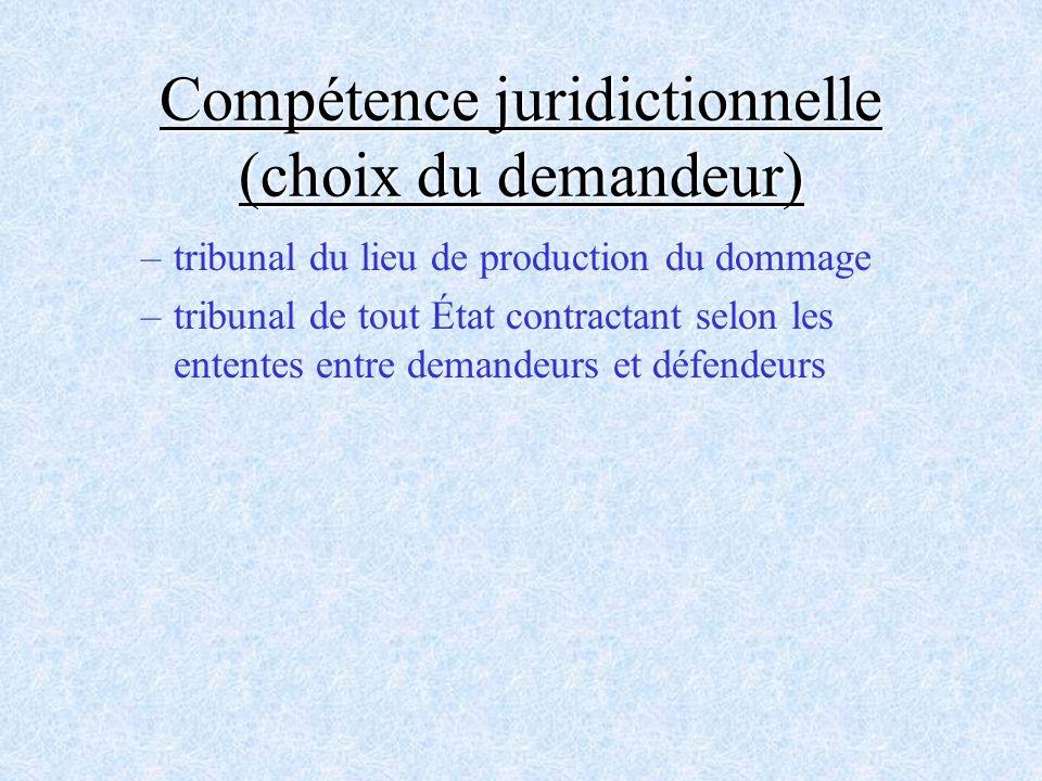 Compétence juridictionnelle (choix du demandeur) –tribunal du lieu de production du dommage –tribunal de tout État contractant selon les ententes entr