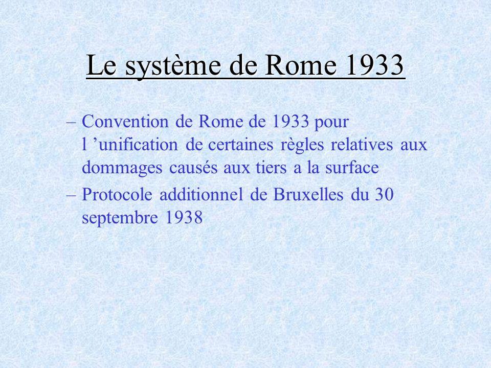 Le système de Rome 1933 –Convention de Rome de 1933 pour l unification de certaines règles relatives aux dommages causés aux tiers a la surface –Proto