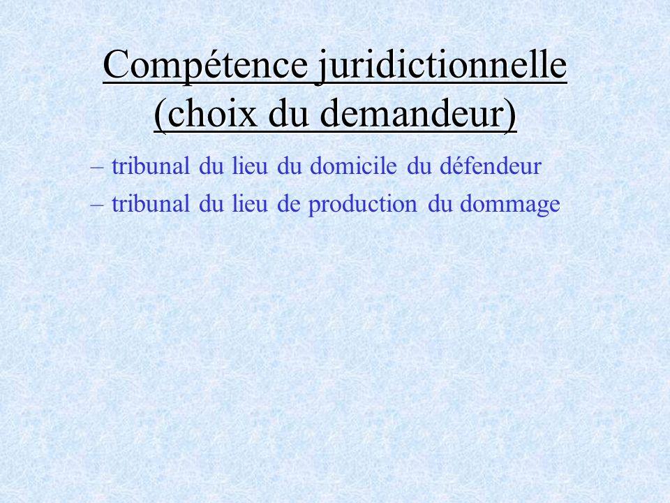 Compétence juridictionnelle (choix du demandeur) –tribunal du lieu du domicile du défendeur –tribunal du lieu de production du dommage