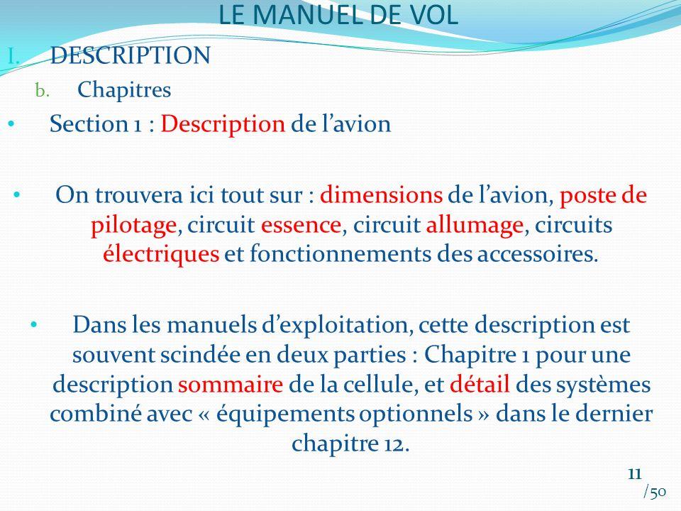 LE MANUEL DE VOL /50 I. DESCRIPTION b. Chapitres Section 1 : Description de lavion On trouvera ici tout sur : dimensions de lavion, poste de pilotage,