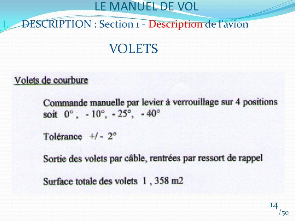 LE MANUEL DE VOL /50 I. DESCRIPTION : Section 1 - Description de lavion VOLETS 14