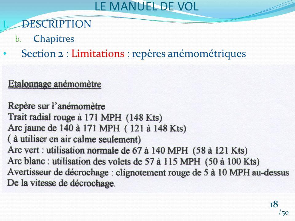 LE MANUEL DE VOL /50 I. DESCRIPTION b. Chapitres Section 2 : Limitations : repères anémométriques 18