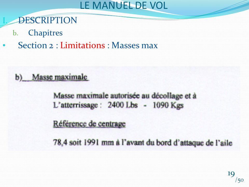 LE MANUEL DE VOL /50 I. DESCRIPTION b. Chapitres Section 2 : Limitations : Masses max 19