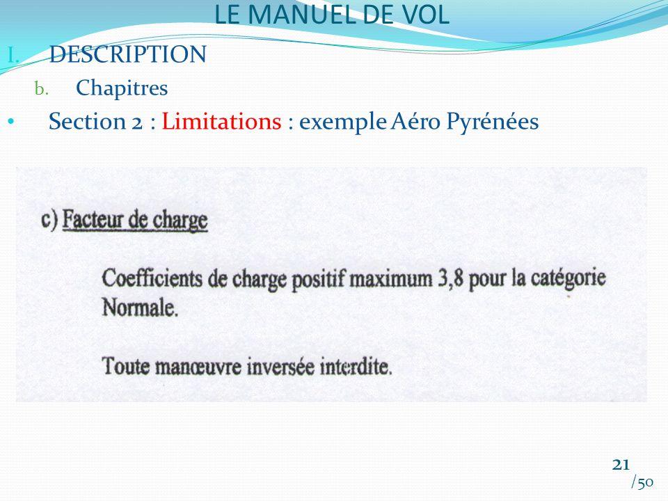 LE MANUEL DE VOL /50 I. DESCRIPTION b. Chapitres Section 2 : Limitations : exemple Aéro Pyrénées 21