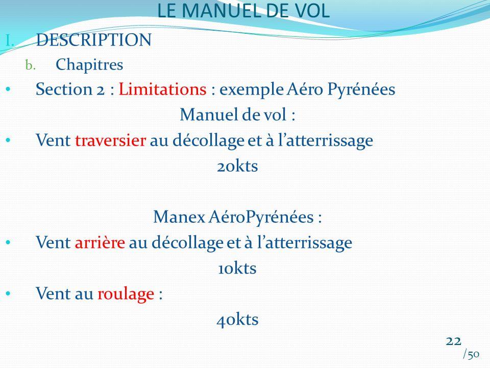 LE MANUEL DE VOL /50 I. DESCRIPTION b. Chapitres Section 2 : Limitations : exemple Aéro Pyrénées Manuel de vol : Vent traversier au décollage et à lat