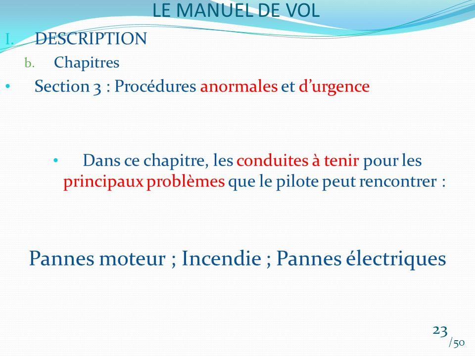 LE MANUEL DE VOL /50 I. DESCRIPTION b. Chapitres Section 3 : Procédures anormales et durgence Dans ce chapitre, les conduites à tenir pour les princip