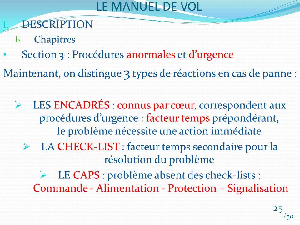 LE MANUEL DE VOL /50 I. DESCRIPTION b. Chapitres Section 3 : Procédures anormales et durgence Maintenant, on distingue 3 types de réactions en cas de