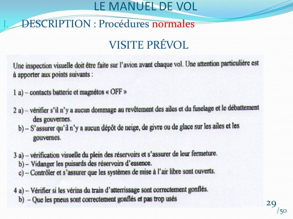 LE MANUEL DE VOL /50 I. DESCRIPTION : Procédures normales VISITE PRÉVOL 29