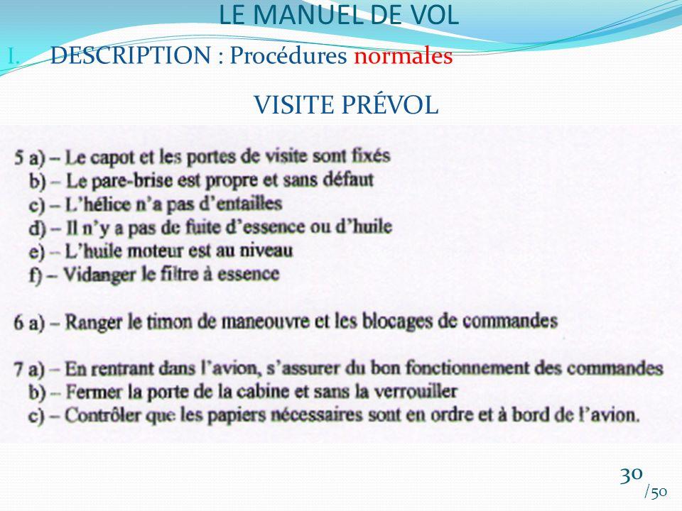 LE MANUEL DE VOL /50 I. DESCRIPTION : Procédures normales VISITE PRÉVOL 30