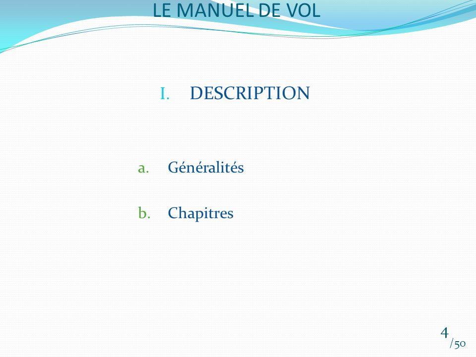 LE MANUEL DE VOL /50 I. DESCRIPTION a.Généralités b.Chapitres 4