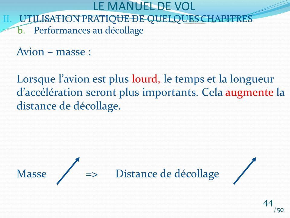 II.UTILISATION PRATIQUE DE QUELQUES CHAPITRES LE MANUEL DE VOL 44 /50 II.UTILISATION PRATIQUE DE QUELQUES CHAPITRES b.Performances au décollage Avion