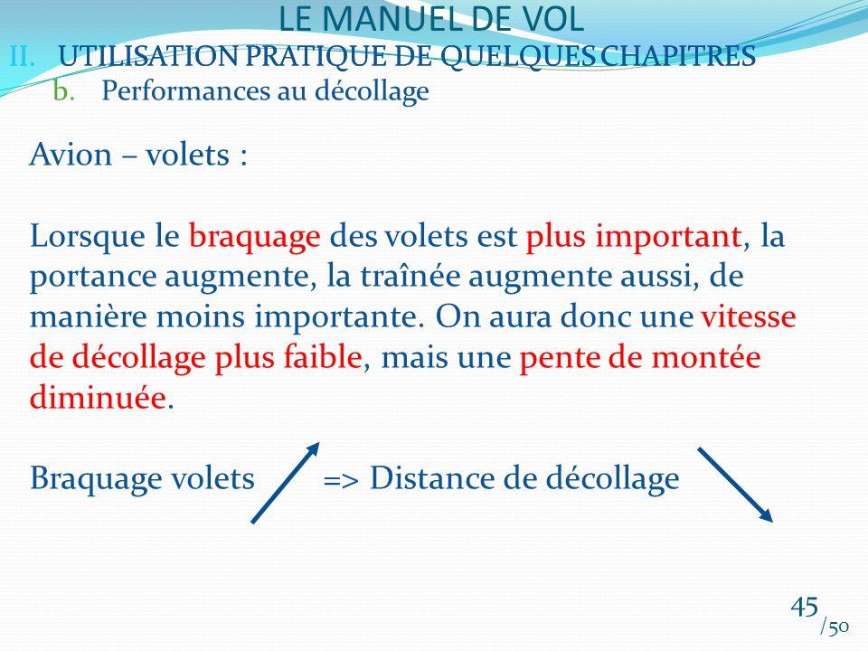 II.UTILISATION PRATIQUE DE QUELQUES CHAPITRES LE MANUEL DE VOL 45 /50 II.UTILISATION PRATIQUE DE QUELQUES CHAPITRES b.Performances au décollage Avion