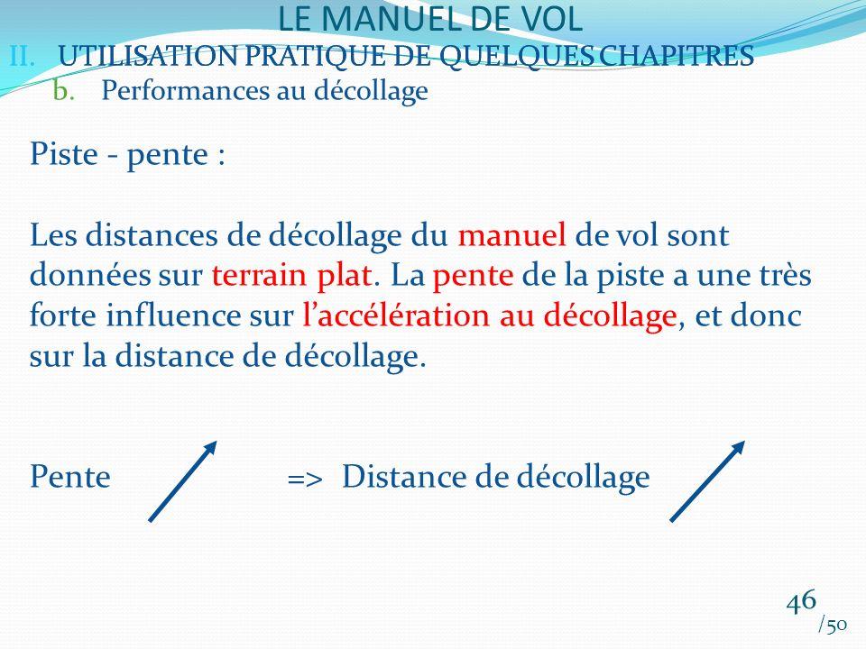 II.UTILISATION PRATIQUE DE QUELQUES CHAPITRES LE MANUEL DE VOL 46 /50 II.UTILISATION PRATIQUE DE QUELQUES CHAPITRES b.Performances au décollage Piste