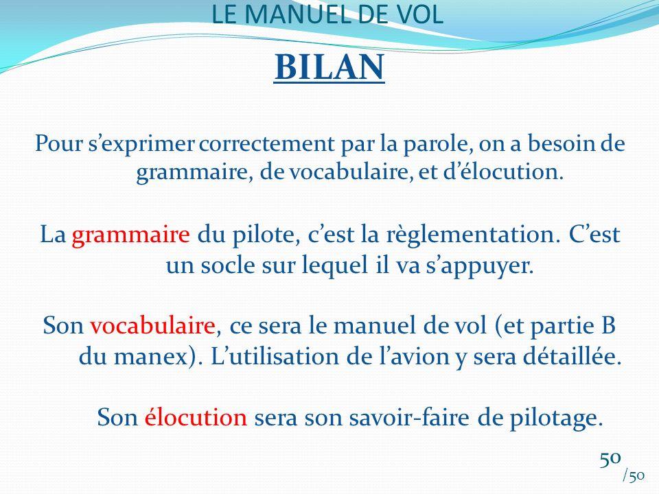 LE MANUEL DE VOL /50 BILAN Pour sexprimer correctement par la parole, on a besoin de grammaire, de vocabulaire, et délocution. La grammaire du pilote,