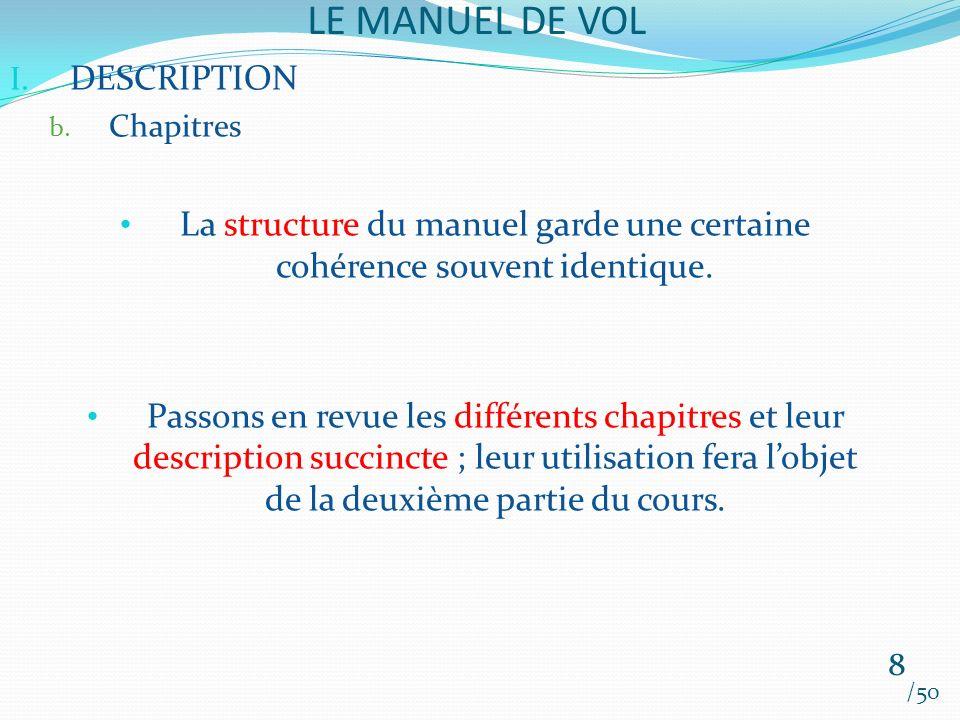 LE MANUEL DE VOL /50 I. DESCRIPTION b. Chapitres La structure du manuel garde une certaine cohérence souvent identique. Passons en revue les différent