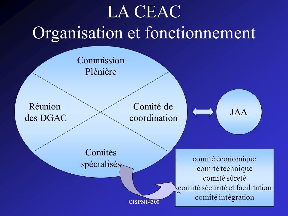 CISPN143003 LA CEAC Organisation et fonctionnement Commission Plénière Réunion Comité de des DGAC coordination Comités spécialisés JAA comité économiq