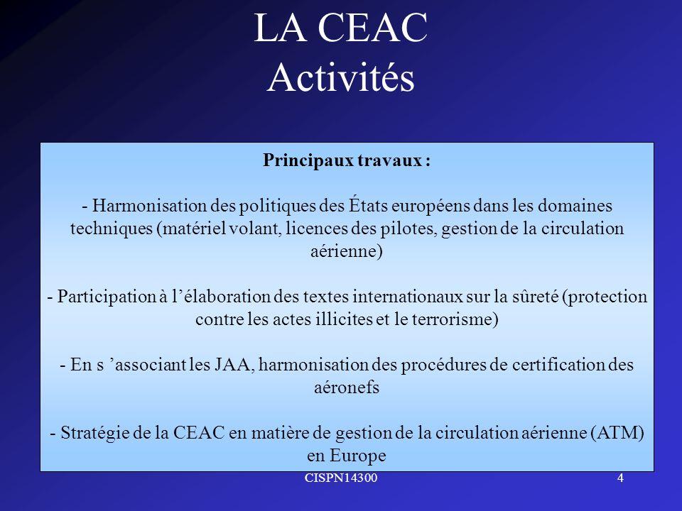 CISPN143004 LA CEAC Activités Principaux travaux : - Harmonisation des politiques des États européens dans les domaines techniques (matériel volant, l