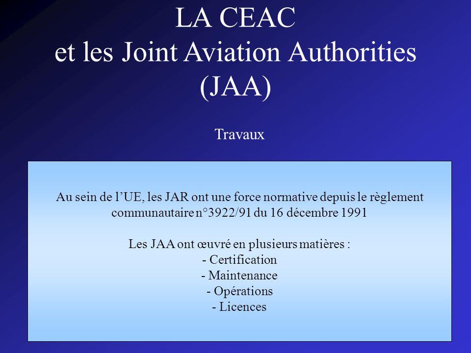 CISPN143006 LA CEAC et les Joint Aviation Authorities (JAA) Travaux Au sein de lUE, les JAR ont une force normative depuis le règlement communautaire