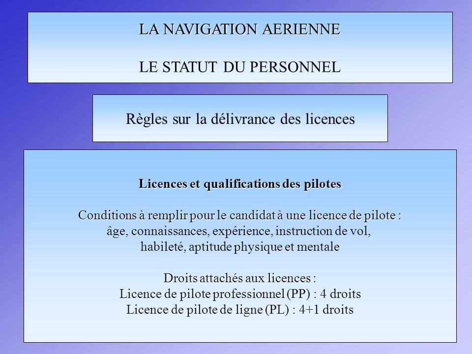 LA NAVIGATION AERIENNE LE STATUT DU PERSONNEL Règles sur la délivrance des licences Licences et qualifications des pilotes Conditions à remplir pour le candidat à une licence de pilote : âge, connaissances, expérience, instruction de vol, habileté, aptitude physique et mentale Droits attachés aux licences Droits attachés aux licences : Licence de pilote professionnel (PP) : 4 droits Licence de pilote de ligne (PL) : 4+1 droits