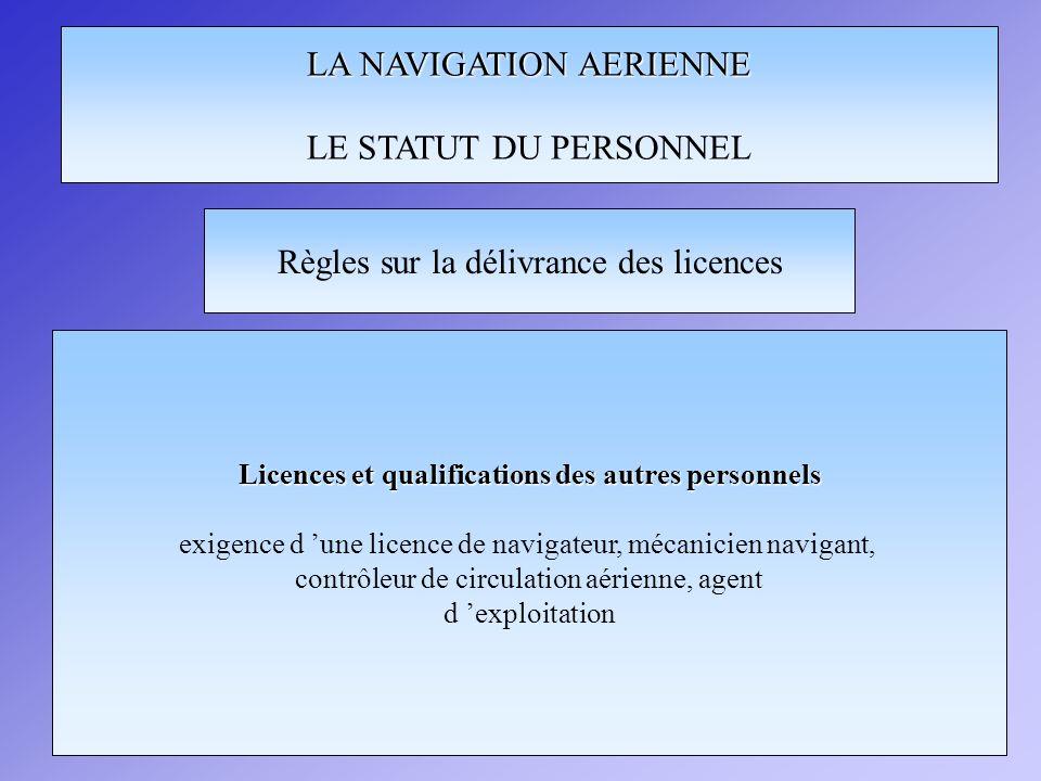 LA NAVIGATION AERIENNE LE STATUT DU PERSONNEL Règles sur la délivrance des licences Licences et qualifications des autres personnels exigence d une licence de navigateur, mécanicien navigant, contrôleur de circulation aérienne, agent d exploitation