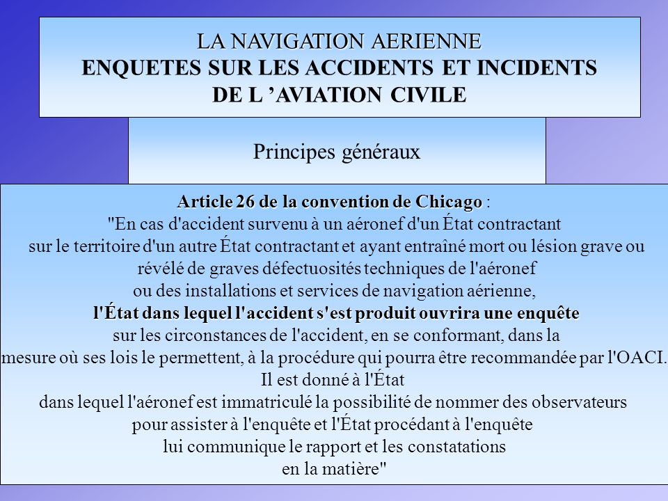 LA NAVIGATION AERIENNE ENQUETES SUR LES ACCIDENTS ET INCIDENTS DE L AVIATION CIVILE Article 26 de la convention de Chicago Article 26 de la convention