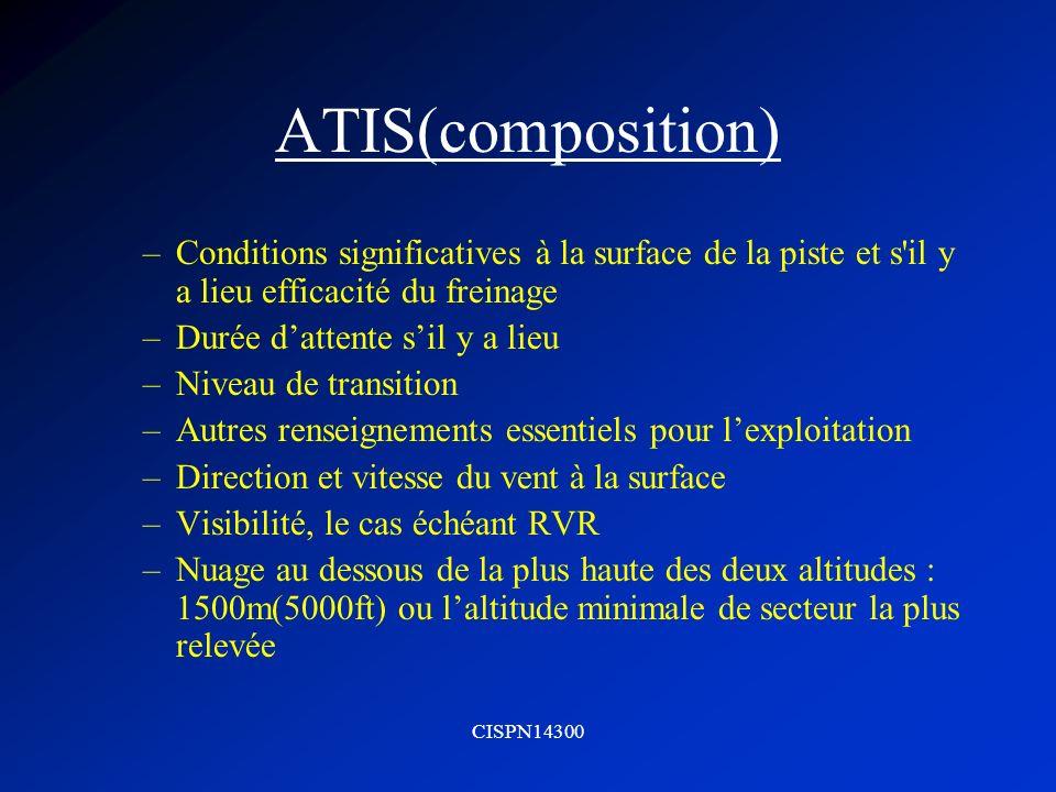 CISPN14300 ATIS(composition) –température de lair –Température du point de rosée –Calage altimétrie –Tout renseignement disponible sur les phénomènes significatifs dans les aires dapproche, de décollage ou de montée initiale –Instruction ATIS particulière
