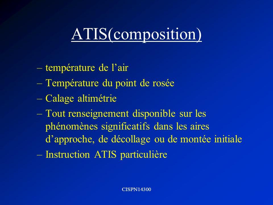 CISPN14300 ATIS(composition) –température de lair –Température du point de rosée –Calage altimétrie –Tout renseignement disponible sur les phénomènes