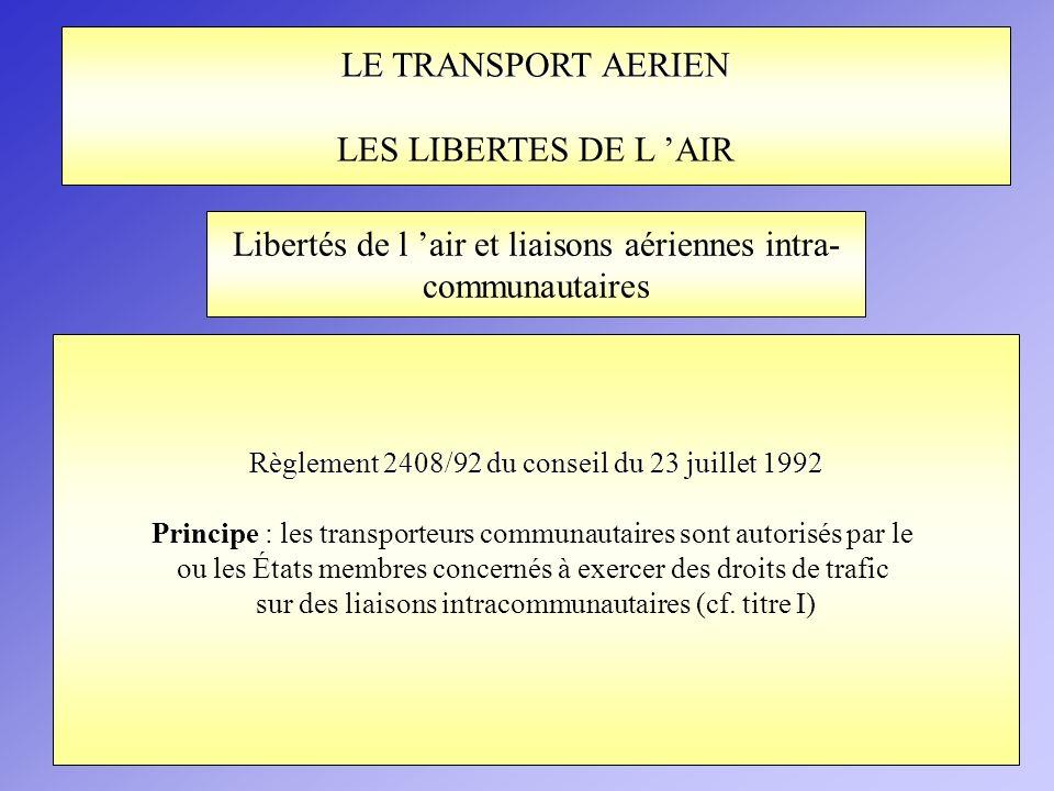 LE TRANSPORT AERIEN LES LIBERTES DE L AIR Règlement 2408/92 du conseil du 23 juillet 1992 Principe : les transporteurs communautaires sont autorisés p