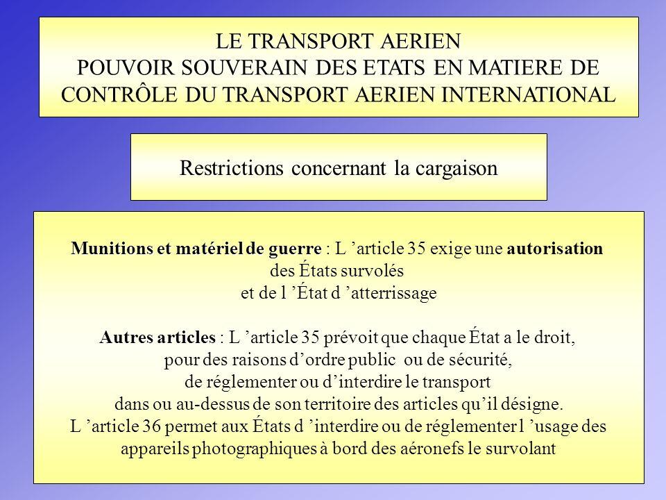 LE TRANSPORT AERIEN POUVOIR SOUVERAIN DES ETATS EN MATIERE DE CONTRÔLE DU TRANSPORT AERIEN INTERNATIONAL Munitions et matériel de guerre Munitions et