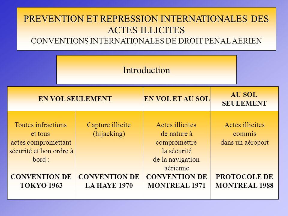 PREVENTION ET REPRESSION INTERNATIONALES DES ACTES ILLICITES CONVENTIONS INTERNATIONALES DE DROIT PENAL AERIEN Introduction EN VOL SEULEMENTEN VOL ET