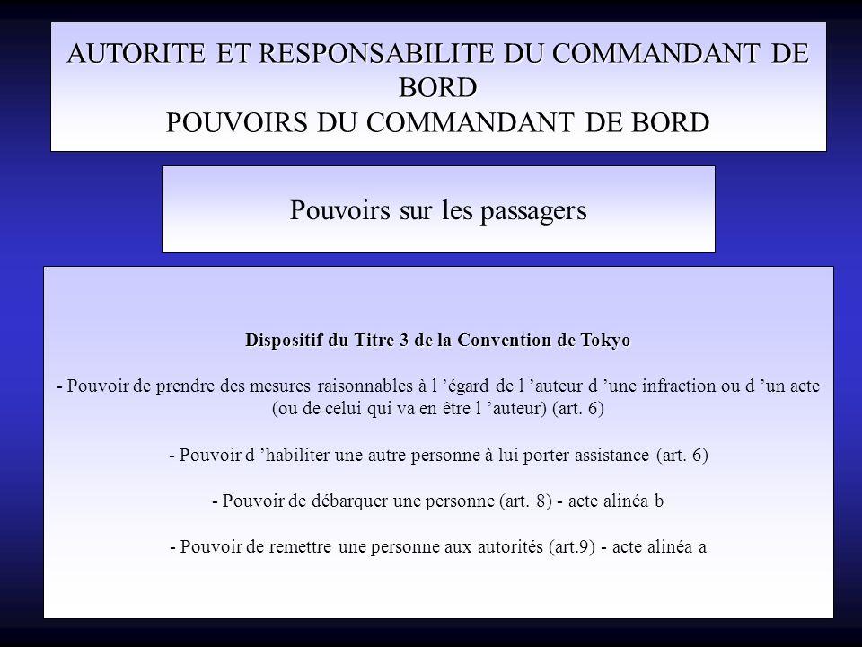 AUTORITE ET RESPONSABILITE DU COMMANDANT DE BORD POUVOIRS DU COMMANDANT DE BORD Pouvoirs sur les passagers Dispositif du Titre 3 de la Convention de T