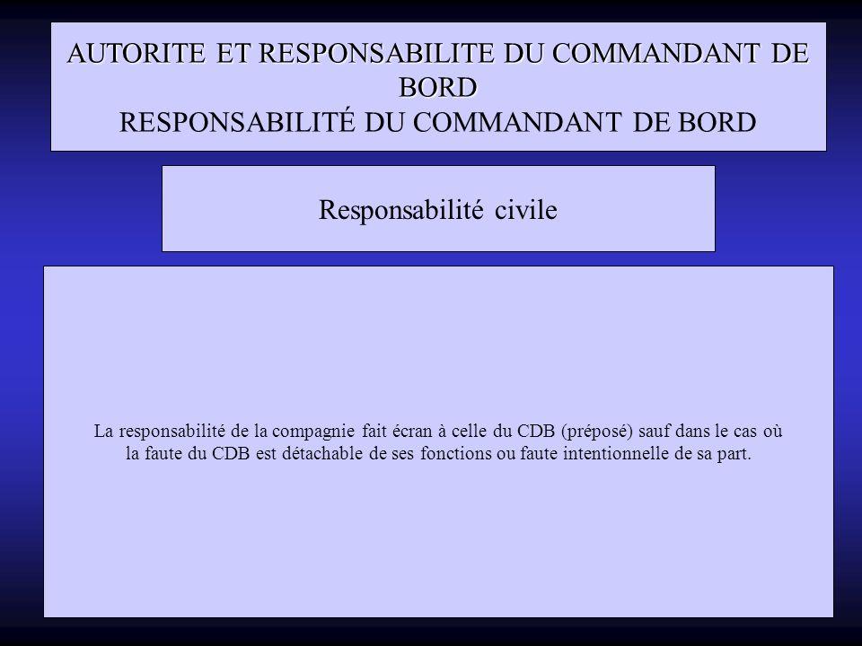AUTORITE ET RESPONSABILITE DU COMMANDANT DE BORD RESPONSABILITÉ DU COMMANDANT DE BORD Responsabilité civile La responsabilité de la compagnie fait écr