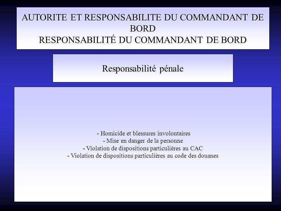 AUTORITE ET RESPONSABILITE DU COMMANDANT DE BORD RESPONSABILITÉ DU COMMANDANT DE BORD Responsabilité pénale - Homicide et blessures involontaires - Mi