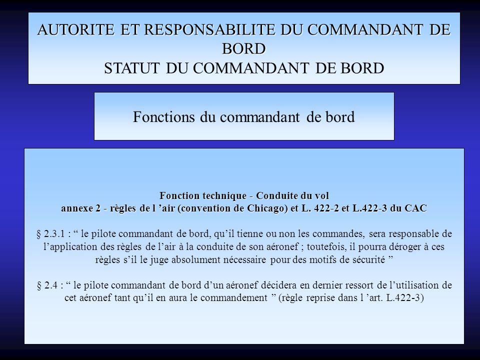 AUTORITE ET RESPONSABILITE DU COMMANDANT DE BORD STATUT DU COMMANDANT DE BORD Fonctions du commandant de bord Fonction technique - Conduite du vol ann