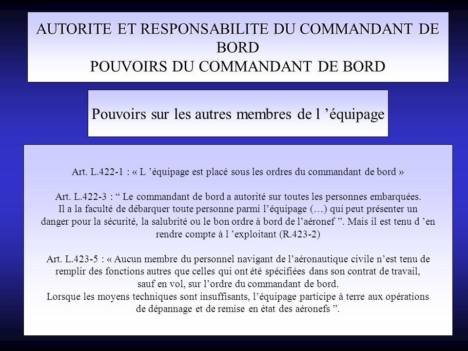 AUTORITE ET RESPONSABILITE DU COMMANDANT DE BORD POUVOIRS DU COMMANDANT DE BORD Pouvoirs sur les autres membres de l équipage Art. L.422-1 : « L équip