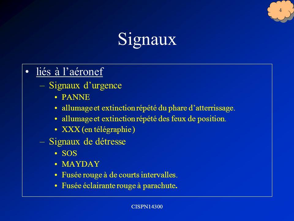 CISPN14300 4 Signaux liés à laéronef –Signaux durgence PANNE allumage et extinction répété du phare datterrissage.
