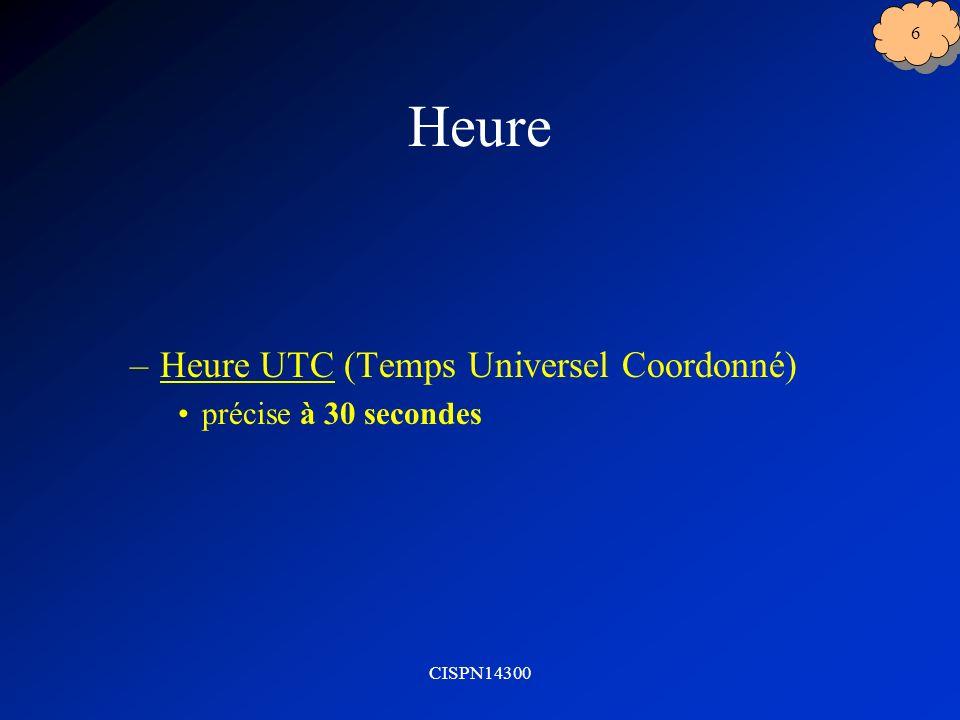 CISPN14300 6 Heure –Heure UTC (Temps Universel Coordonné) précise à 30 secondes
