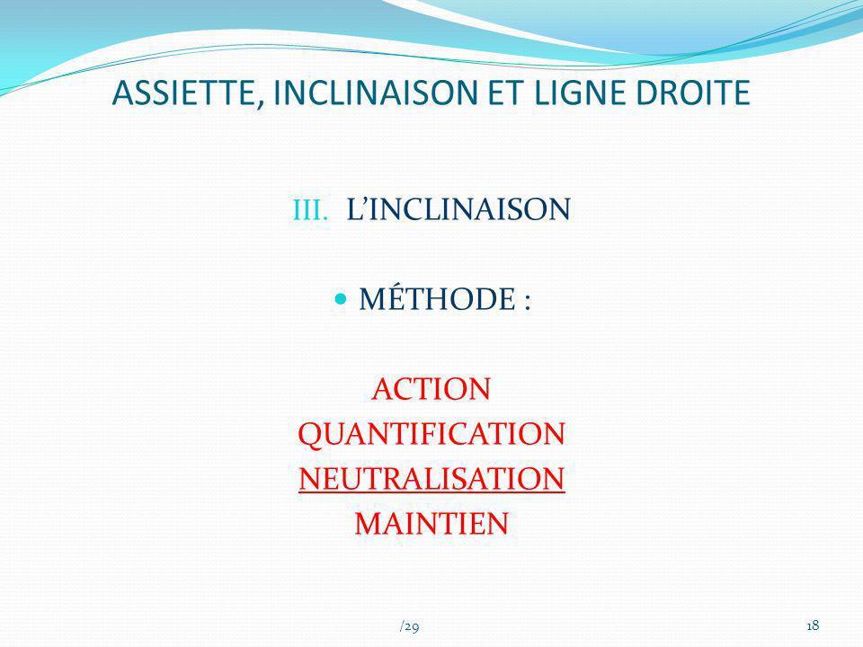 ASSIETTE, INCLINAISON ET LIGNE DROITE III. LINCLINAISON MÉTHODE : ACTION QUANTIFICATION NEUTRALISATION MAINTIEN /2918