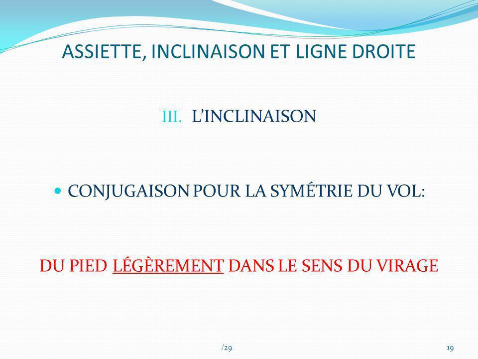 ASSIETTE, INCLINAISON ET LIGNE DROITE III. LINCLINAISON CONJUGAISON POUR LA SYMÉTRIE DU VOL: DU PIED LÉGÈREMENT DANS LE SENS DU VIRAGE /2919