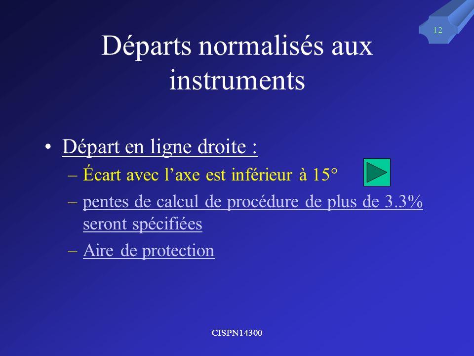 CISPN14300 12 Départs normalisés aux instruments Départ en ligne droite : –Écart avec laxe est inférieur à 15° –pentes de calcul de procédure de plus