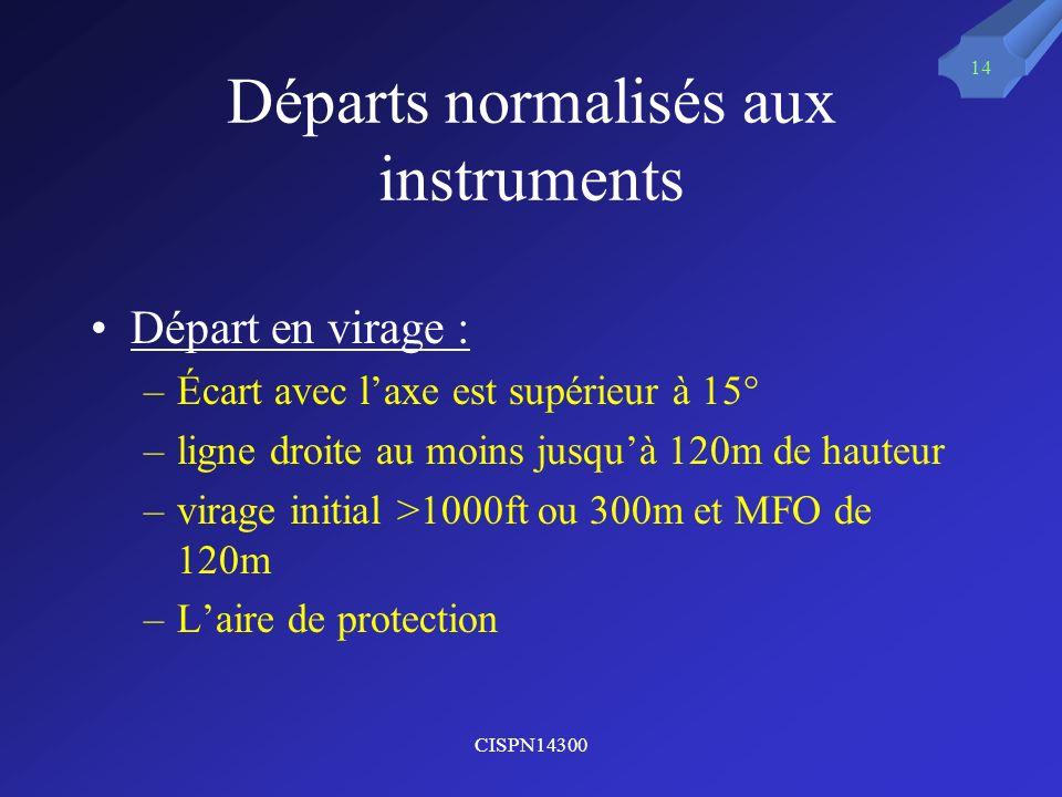 CISPN14300 14 Départs normalisés aux instruments Départ en virage : –Écart avec laxe est supérieur à 15° –ligne droite au moins jusquà 120m de hauteur