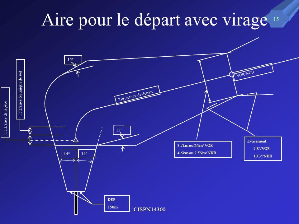 CISPN14300 15 Aire pour le départ avec virage Tolérance de repère Tolérance technique de vol 15° VOR/NDB Trajectoire de départ 3.7km ou 2Nm/ VOR 4.6km