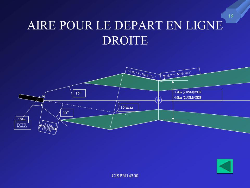 CISPN14300 19 AIRE POUR LE DEPART EN LIGNE DROITE 15°max 3.7km (2.0NM)/VOR 4.6km (2.5NM)/NDB 15° 150m DER 3.5 km 1.9 NM VOR 7.8°/ NDB 10.3°