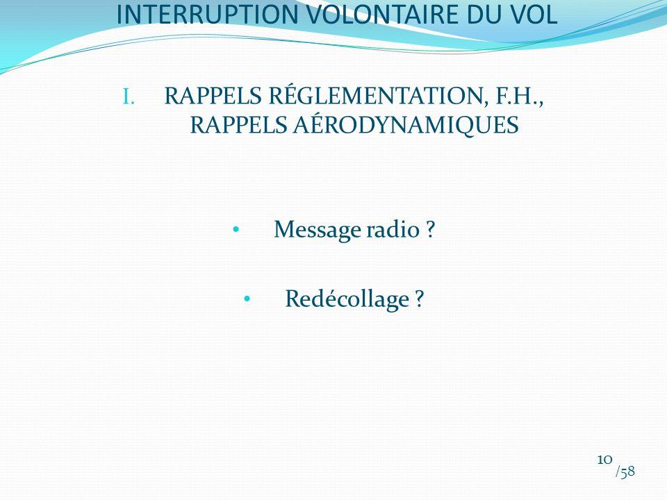 I. RAPPELS RÉGLEMENTATION, F.H., RAPPELS AÉRODYNAMIQUES Message radio ? Redécollage ? /58 10 INTERRUPTION VOLONTAIRE DU VOL
