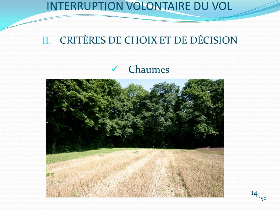 II. CRITÈRES DE CHOIX ET DE DÉCISION Chaumes /58 14 INTERRUPTION VOLONTAIRE DU VOL
