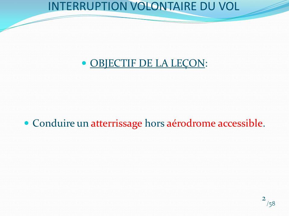 INTERRUPTION VOLONTAIRE DU VOL OBJECTIF DE LA LEÇON: Conduire un atterrissage hors aérodrome accessible. /58 2