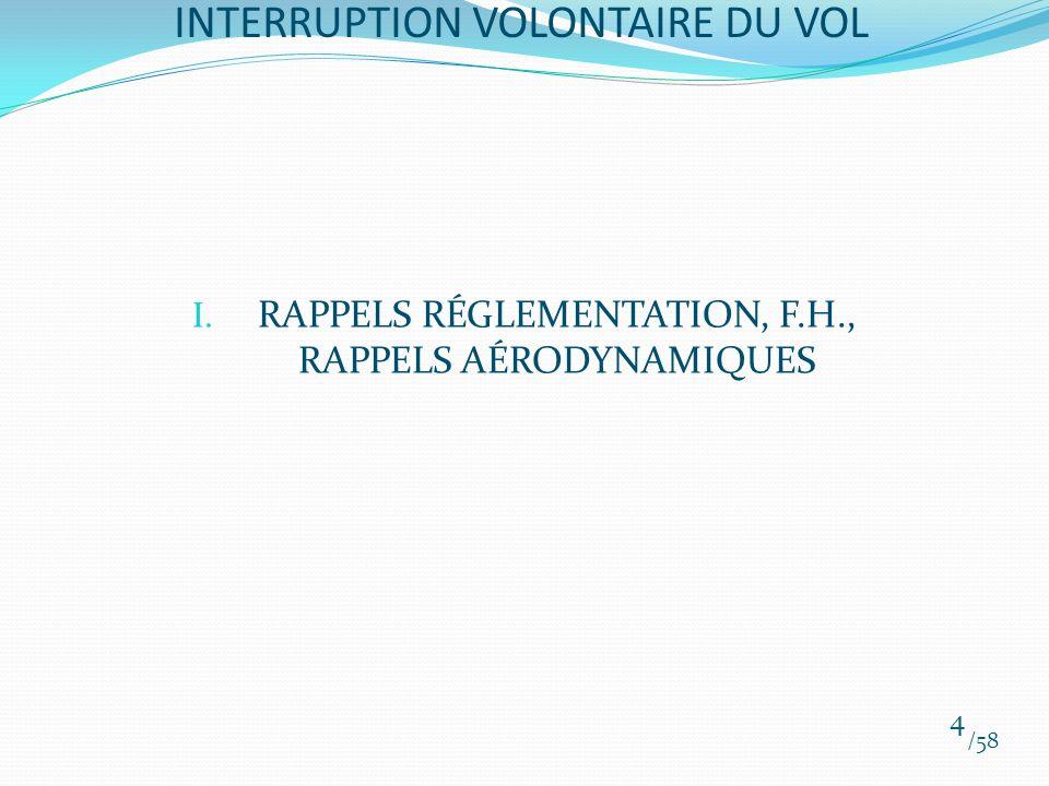 I. RAPPELS RÉGLEMENTATION, F.H., RAPPELS AÉRODYNAMIQUES /58 4 INTERRUPTION VOLONTAIRE DU VOL
