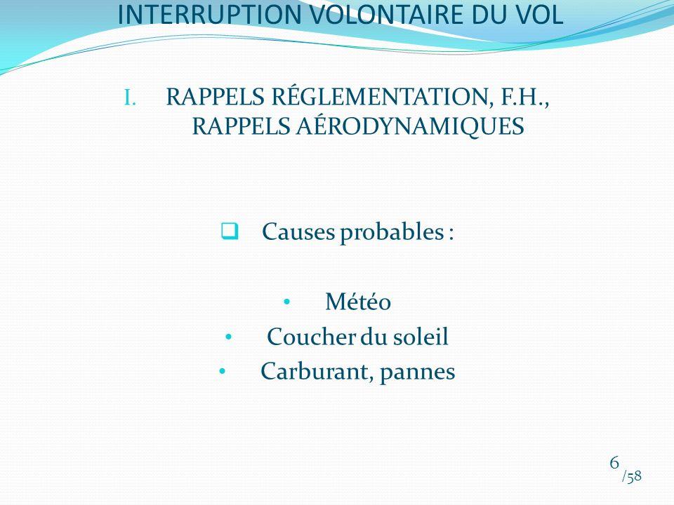 I. RAPPELS RÉGLEMENTATION, F.H., RAPPELS AÉRODYNAMIQUES Causes probables : Météo Coucher du soleil Carburant, pannes /58 6 INTERRUPTION VOLONTAIRE DU